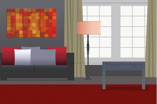 Офисный интерьер дома с большими окнами и диваном