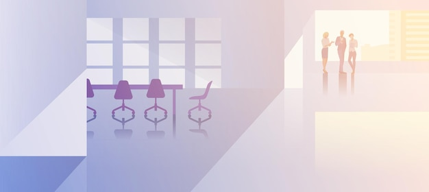 Office interior open-space flat design vector illustration. business people standing talking in modern meeting room conference hall businessmen and businesswoman silhouette near big window