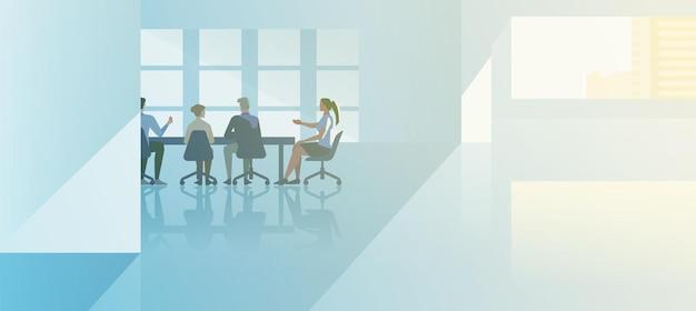 オフィスインテリアオープンスペースフラットデザインベクトルイラスト。現代の会議室で話しているビジネスマンと会議場に座っているビジネスウーマン