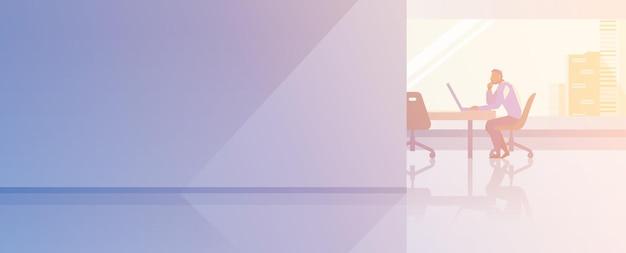 オフィスインテリアオープンスペースフラットデザインベクトルイラスト。電話で話しているラップトップで働いて座っているビジネスマンボストップマネージャー。