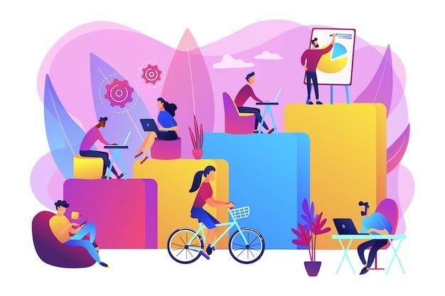 Офисный интерьер. люди, работающие в творческой рабочей области на открытом пространстве. современное рабочее место, счастье сотрудников, концепция повышения производительности.
