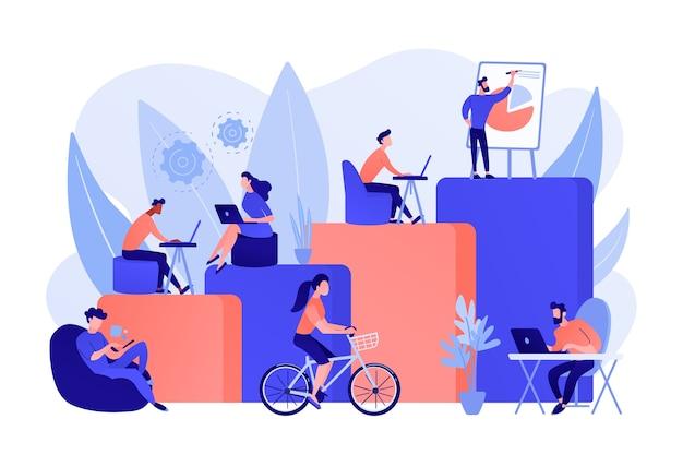 オフィスのインテリア。オープンスペースのクリエイティブワークスペースで働く人々