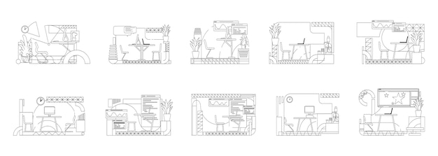 Office interior s outline  illustrations set. employee workplace contour compositions on white background. creative studio , coworking space simple style drawings collection