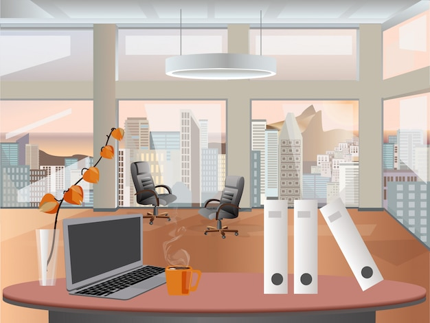 Office interior vector business background