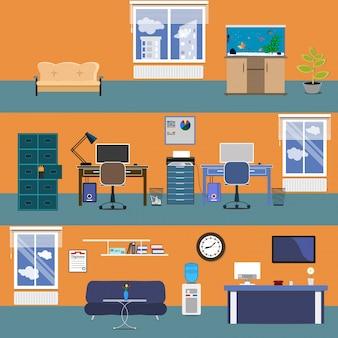 사무실 인테리어. 플랫 스타일의 벡터 일러스트 레이 션. 열린 공간 사무실 근로자와 건물입니다.