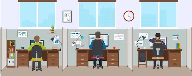 직원과 사무실 인테리어입니다. 현대적인 사무실 인테리어입니다. 디자이너가 있는 사무실 공간.