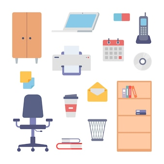 Office interior work items icon set. filing cabinet and modern adjustable chair