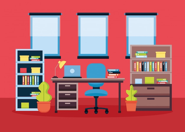 Office interior workplace
