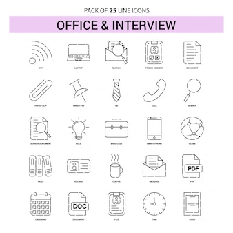 Office and interview line icon set - 25 dashed outline style