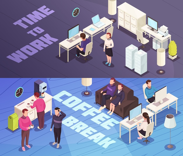 Office isometric banners
