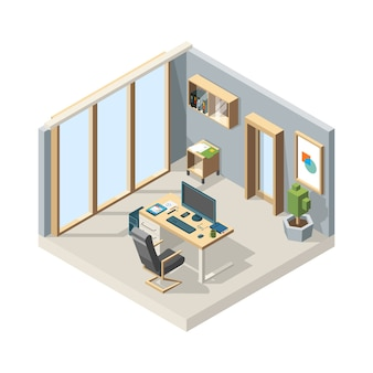 オフィスアイソメトリック。家具チェアデスクコンピューター低ポリイラストとビジネスインテリア。テーブルと椅子のあるオフィスビジネス