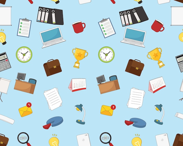 Office items seamless pattern