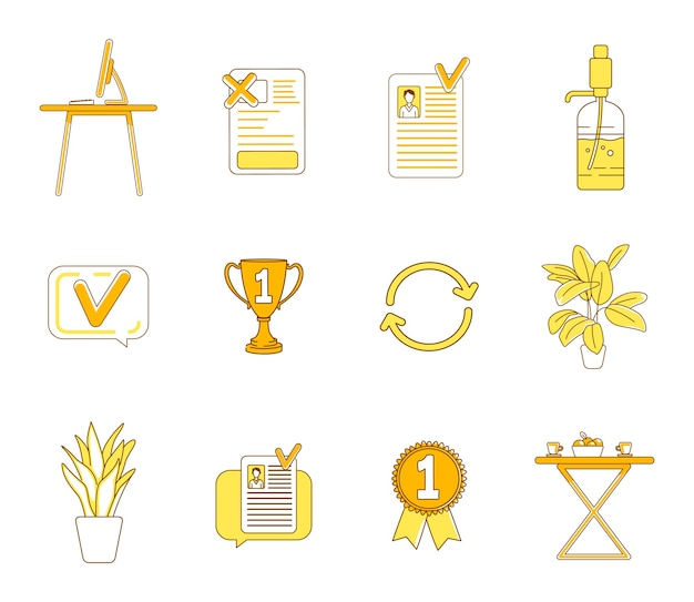 Office items yellow linear objects set. business company, corporate workspace thin line symbols pack. furniture, decorative plants, trophy and cv isolated outline illustrations on white background