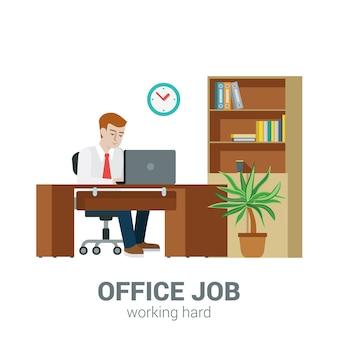 Концепция рабочего процесса офиса. бизнесмен сидит стол ноутбук шкаф шкафчик документ полка. плоский стиль современной профессиональной работы, связанной с рабочим местом человека. люди на сборе работы.