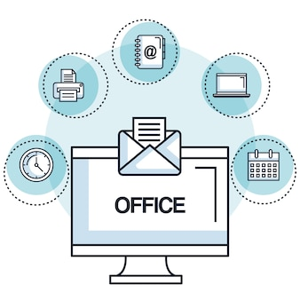 Office laptop email message note work