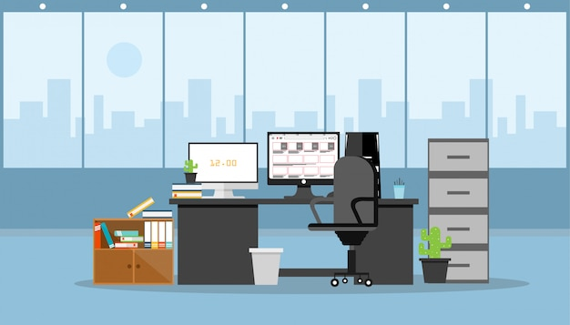 Office  learning and teaching to work vector illustration