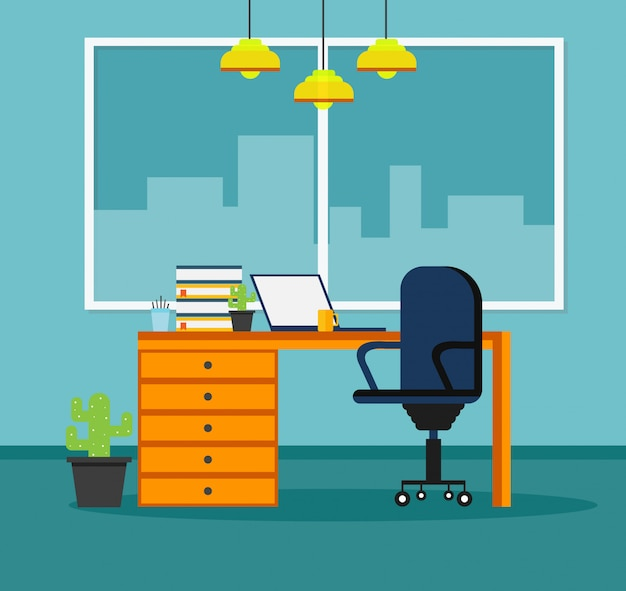 Office  learning and using a design program vector illustration
