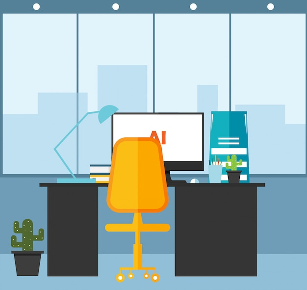 Office  learning and  using a design vector illustration