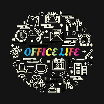 Office life colorful gradient with line icons set