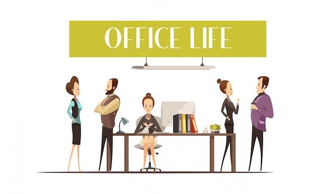 Office life design with upset secretary at workplace