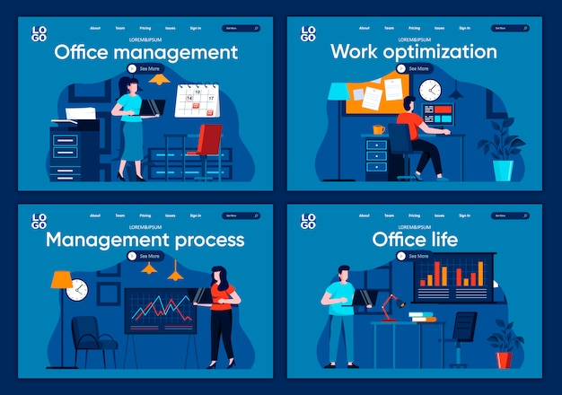 Office life flat landing pages set. corporate businesspersons working at workplace in office scenes for website or cms web page. management process, work optimization illustration.