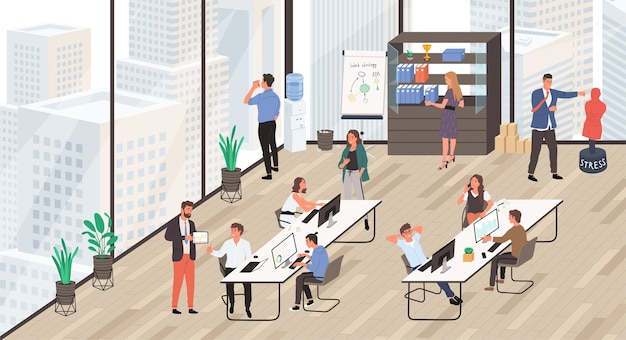 オフィスライフ。職場で互いにコミュニケーションをとっているサラリーマンのグループ。オフィスのインテリア。
