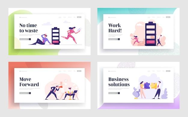 オフィスライフルーチン、ビジネスマンのライフスタイルのランディングページ