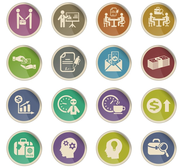 Office life web icons in the form of round paper labels