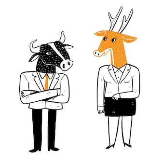 사무실 생활 비즈니스 아이디어, 잘 차려입은 남녀, 그들의 머리는 동물입니다. 벡터 일러스트 레이 션 손 그리기 낙서 스타일