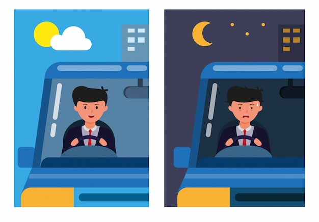 Office man driving car in morning and night. worker activities health fit and tired scene comparison cartoon flat illustration