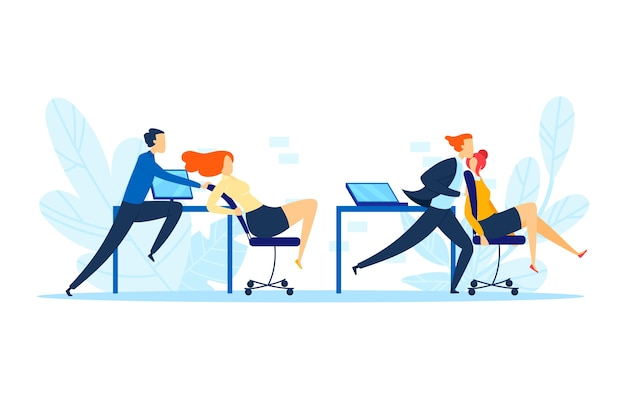 Office man person ride on chair, illustration. business happy people fun relaxation at workplace, cheerful cowoker riding. female male friendship at job, carefree pushing competition.