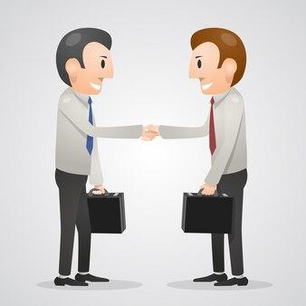 Office man shaking hands art. vector illustration