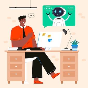 사무실 남자 절연 로봇 이야기입니다. 사람과 안드로이드 사이의 대화, 인공 지능 대화. 챗봇, 기술 지원의 개념입니다.