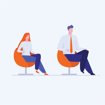 Office man and woman sitting in chairs
