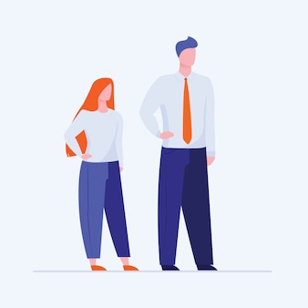 Office man and woman standing holding hands on waist