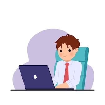 Офисный человек, работающий с уверенной улыбкой. мужчина, использующий ноутбук для работы. корпоративный клип-арт. иллюстрация на белом.