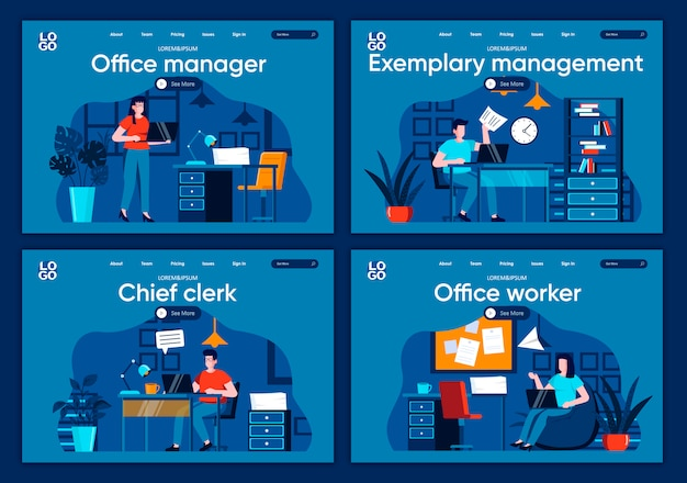 Office management flat landing pages set. tasks management and planning, work organization scenes for website or cms web page. office management, chief clerk and manager illustration.