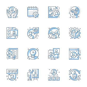 Office management linear vector icons set.