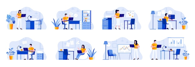 Сцена офисного управления объединяется с персонажами. бизнесмены, работающие с компьютером на рабочем месте в офисных ситуациях. управление задачами и организация работы плоской иллюстрации