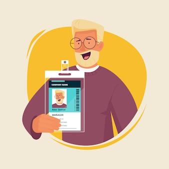 Idカードを持つオフィスマネージャー。個人バッジパスポート入国書類スタッフ番号文字を提示するビジネスマン。