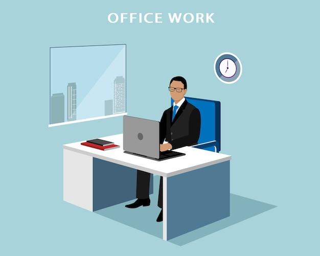 オフィス内のコンピューターで働くオフィスマネージャー。ノートパソコンで等尺性顔のない男