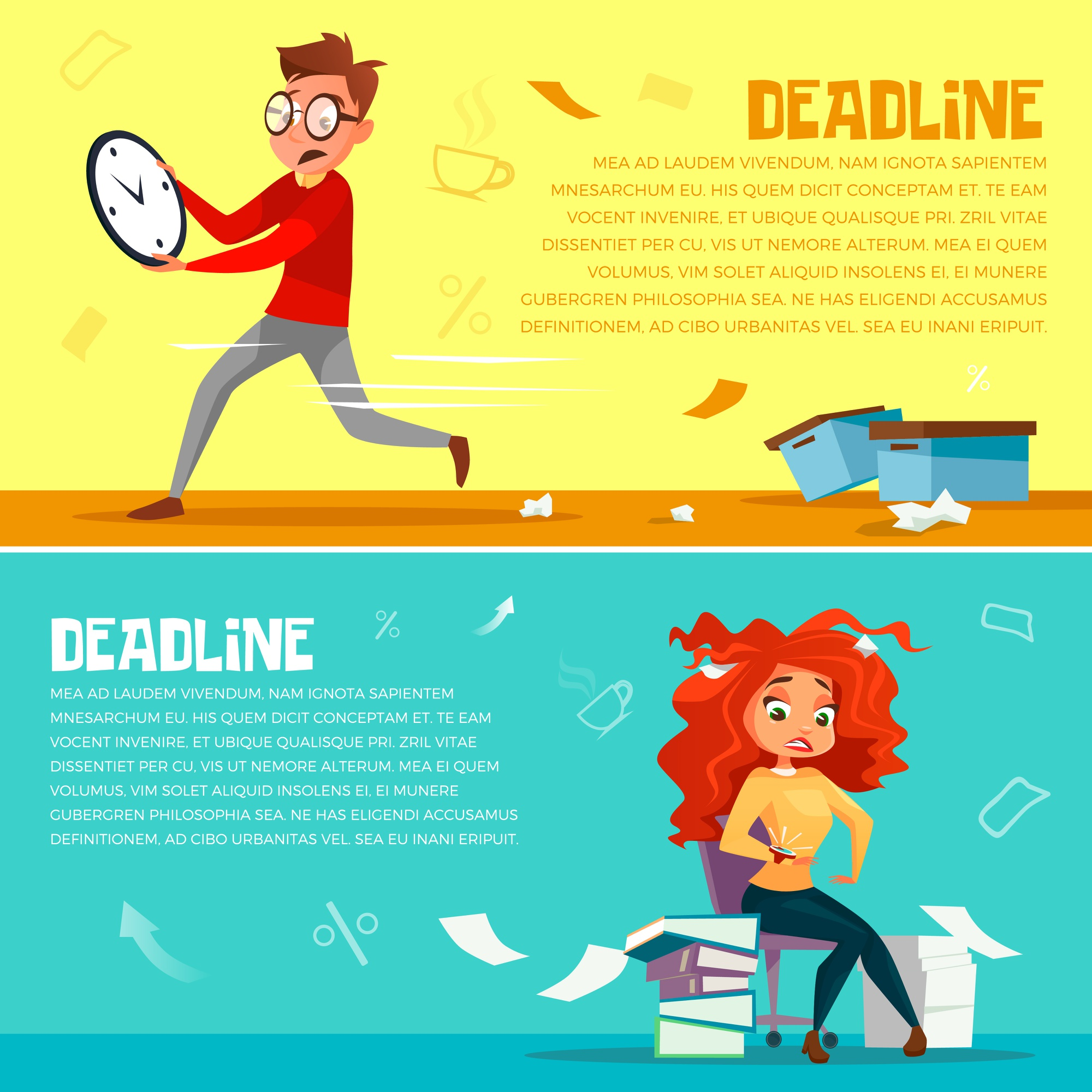 Office managers deadline. Cartoon office manager man running in hurry
