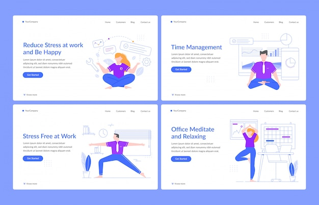 Office meditation and relaxing. business characters relaxing at work, people in office practice yoga poses, no stress landing page templates. stress management homepage layouts set