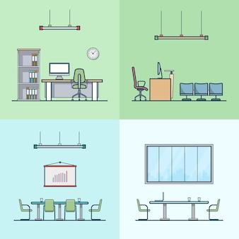 オフィス会議室キャビネットテーブルチェアインテリア屋内セット。線形ストロークアウトラインフラットスタイルアイコン。カラーアイコンコレクション。
