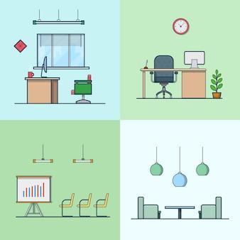 사무실 회의 회의실 테이블 의자 안락 의자 나이트 댄스 클럽 인테리어 실내 세트. 선형 스트로크 개요 평면 스타일 아이콘. 색상 아이콘 모음입니다.