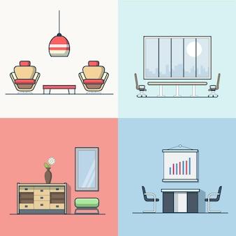 사무실 회의 회의실 테이블 의자 안락 의자 나이트 댄스 클럽 거실 인테리어 실내 세트. 선형 스트로크 개요 평면 스타일 아이콘. 색상 아이콘 모음입니다.