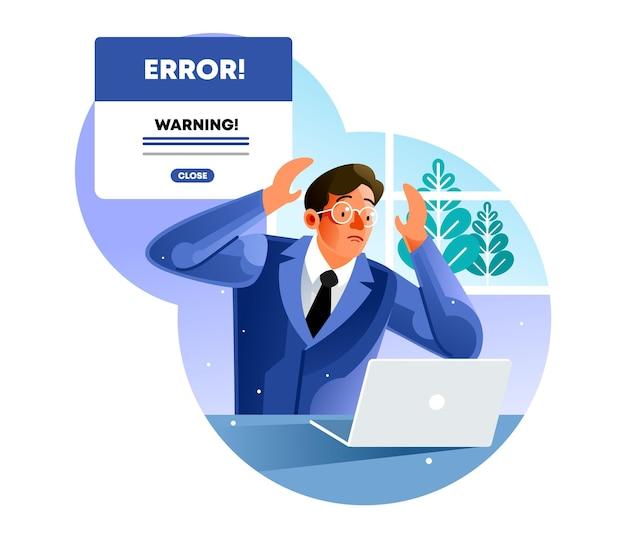사무실 남자는 노트북 오류를보고 스트레스를 느낀다