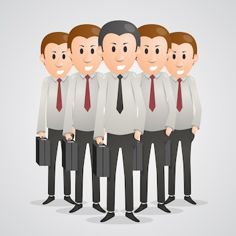 Office men with suitcases art. vector illustration