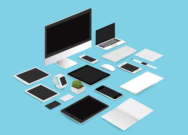 オフィスモックアップは、青の背景にコレクションのイラストを設定