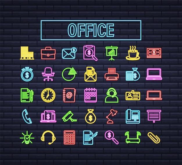 사무실 네온 아이콘입니다. 웹 아이콘 세트입니다. 사무실, 어떤 목적을 위한 훌륭한 디자인. 벡터 재고 일러스트 레이 션.